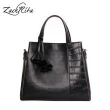 ZackRita Genuine Leather Bag Female 2017 Woman Bag Brand Luxury Alligator Women Handbag Messenger Large Tote Bag sac a main B79
