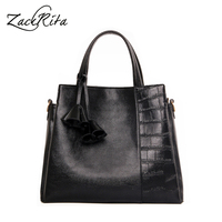 ZackRita Genuine Leather Women Handbags 2017 New Fashion Brands Alligator Messenger Bags Large Size Lady Tote