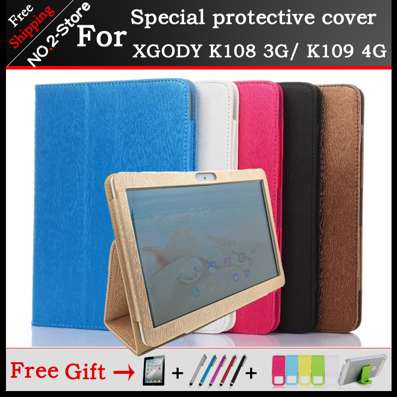 Fashion 2 fold Folio PU leather stand cover case for XGODY K108 3G/ K109 4G call phone tablet pc , 6 colors available +3 gift new 2 fold folio pu leather stand cover case for onda v10 3g 4g call phone 10 1inch tablet pc black and white color gift