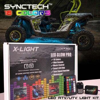 10pc X-LIGHT ATV UTV Underbody Glow LED Lighting Kit | Full-Color Accent Neon Strips w/Switch | 3-in-1 Smart LED | Brake Mode