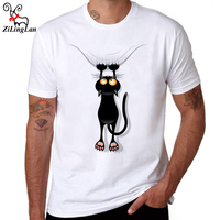 ZiLingLan Hipster Fun Black Cat Falling Down T Shirts Breathable Cotton T Shirt Novelty Short Sleeve