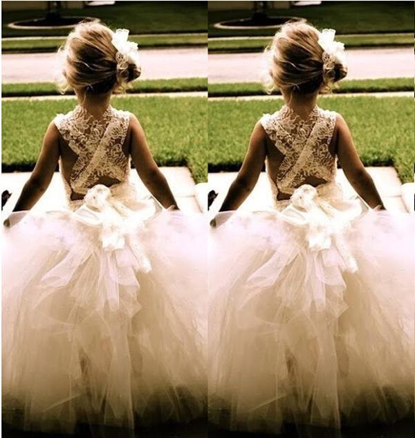 2017 New Flower Girl Dresses Princess Ball Gown Communion Party Pageant Dress for Little Girls Kids/Children Dress for Wedding