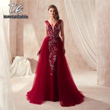 Con cuello en V de lujo cordón sirena vestidos de graduación vino rojo gris  sin mangas vestidos de noche cristales largo vestido. ce5b88025da5