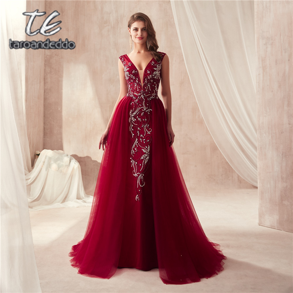 V-neck Luxury Beading Mermaid   Prom     Dresses   Wine Red/Gray Sleeveless Evening   Dresses   Crystals Long vestido   Prom   Gown 2019