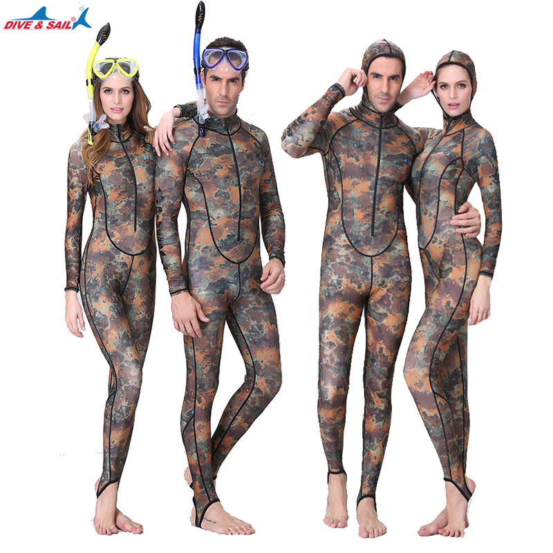 Dive&Sail UPF50+ Camouflage Snorkeling Dive Skin Adult Rash Guards One-piece With Hood Jump Stinger Suit Men Women