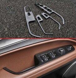 Para alfa romeo stelvio 2017 2018 acessórios do carro de fibra carbono estilo porta janela braço capa interruptor painel guarnição moldagem decore