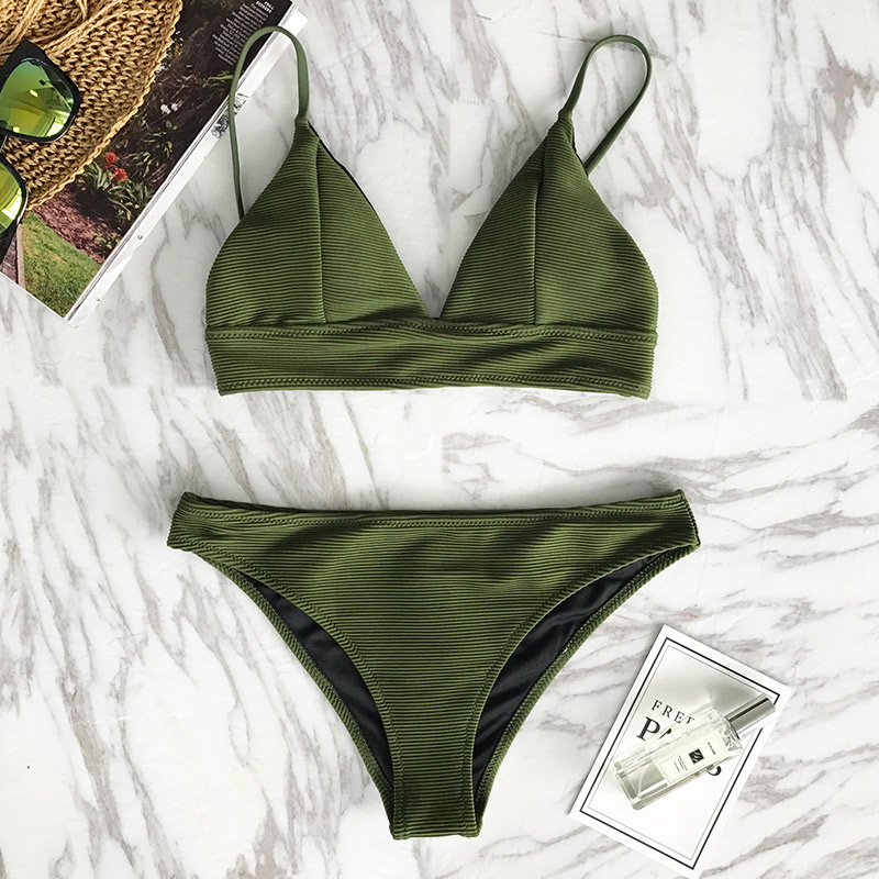 HTB1Ppane2BNTKJjSszcq6zO2VXaM CUPSHE Army Green Solid Bikini Set Women Triangle Sexy Two Pieces Swimwear 2019 Girl Plain Beach Bathing Suit Swimsuits
