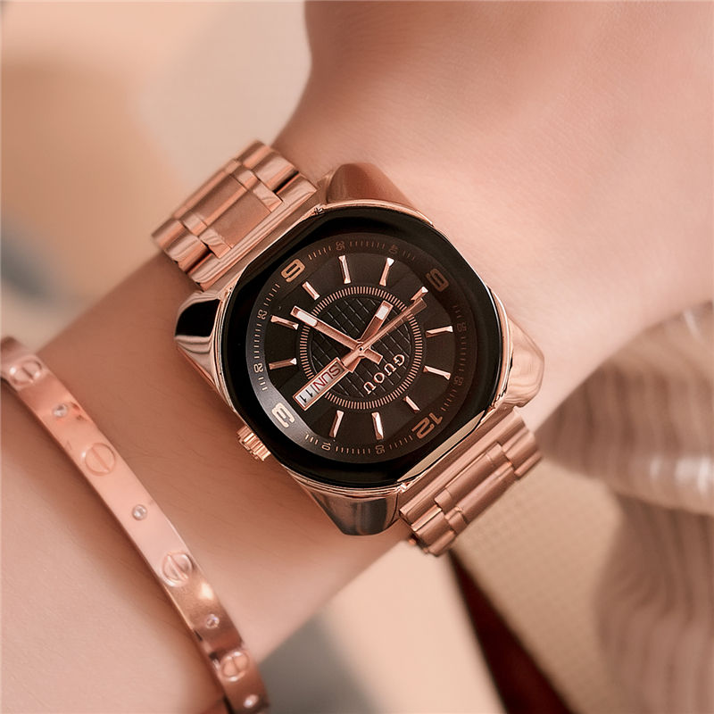 GUOU Women Bracelet Watches Fashion Luxury Waterproof Quartz Watch Clock Ladies Dress Wristwatch With Calendar relogio feminino ladies women watches 2017 fashion women rhinestone bracelet watches analog quartz wristwatch ladies clock relogio feminino