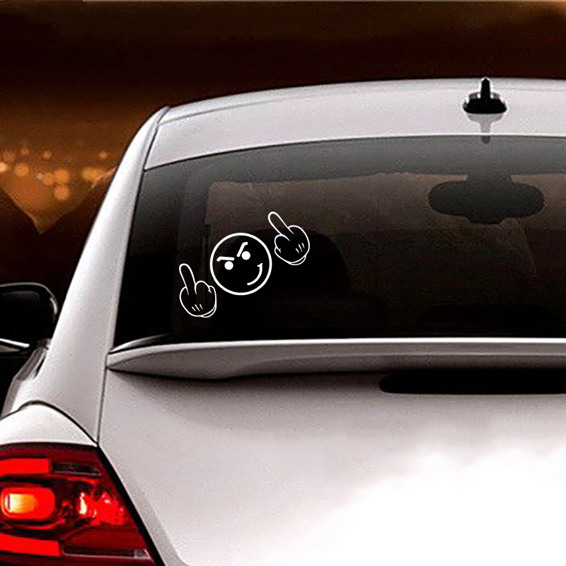 MIDDLE FINGER SMILEY Sticker Have a Nice Day Decal JDM Race Fun Drift Road Rage