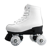 Basecamp Double Roller Skating Quad Two Line Roller Skate 4 Wheels Lace up Skate Shoes with Colorful LED Light Free Shiping