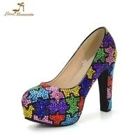 Разноцветными стразами Мероприятия Фестиваля обувь для вечеринок 12 см квадратный каблук Свадебные вечерние туфли для невесты Большой разм