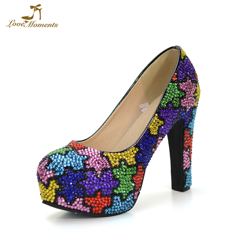 Colorful Rhinestone Festival Event Party Shoes 12cm Square Heel Wedding Bridal Dress Shoes Plus Size 12 Cinderella Prom Pumps rhinestone square heel mens dress shoes