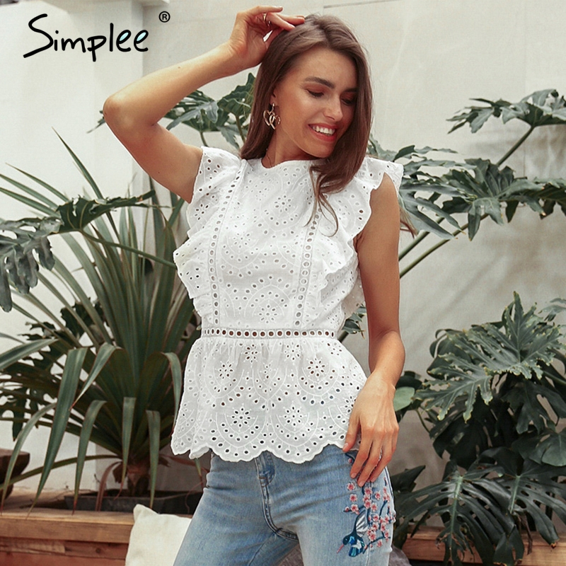Simplee Elegant hollow out women   tank     tops   Ruffled o-neck ladies peplum   tops   High waist summer casual female cotton   tops   2019