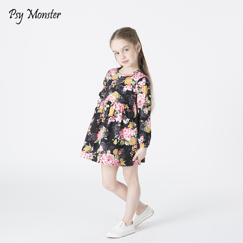 4811c8099 PSY Monster 2018 Children Cotton Spring Dresses Girls Flower ...