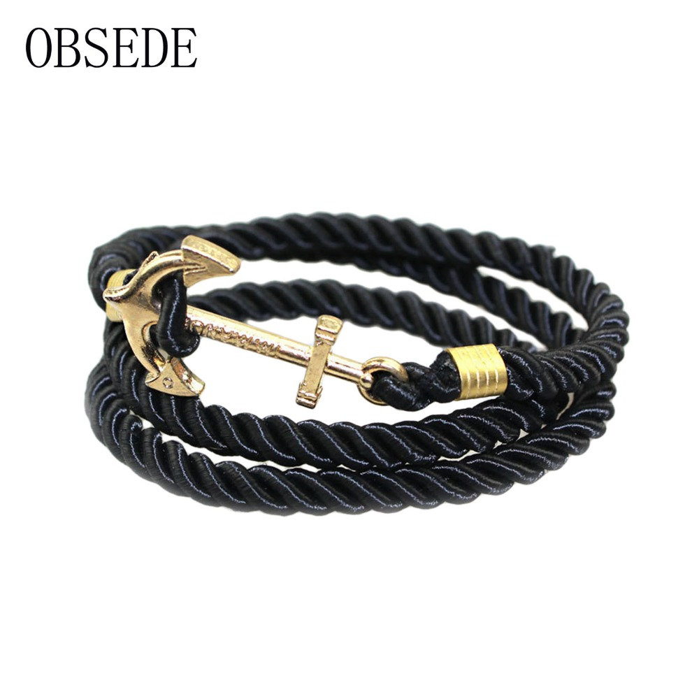 Obsede Vintage Woven Multilayer Anchor Bracelets & Bangles For Women Men  Jewelry Trendy Rope Bracelet New