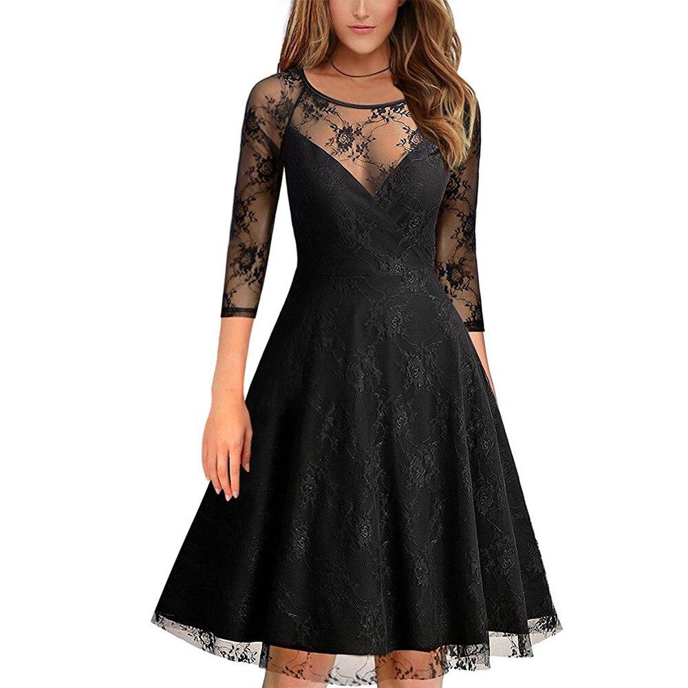 בציר תחרה קוקטייל שמלות קצר אשליה O-צוואר 3/4 שרוולים קטן מסיבת שמלת נשים באורך הברך vestidos coctel mujer 2018