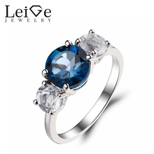 Leige Jewelry London Blue Topaz Ring Round Cut Promise Rings Solid 925 Sterling Silver White Topaz Gemstone November Birthstone