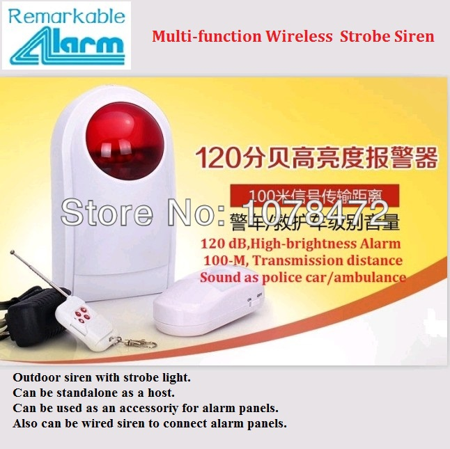 good cheap scene home alarm system Wireless Outdoor strobe siren horn with remote control,PIR sensor,standalone alarm system ms 490 ac 110v 220v 150db motor driven air raid siren metal horn double industry boat alarm