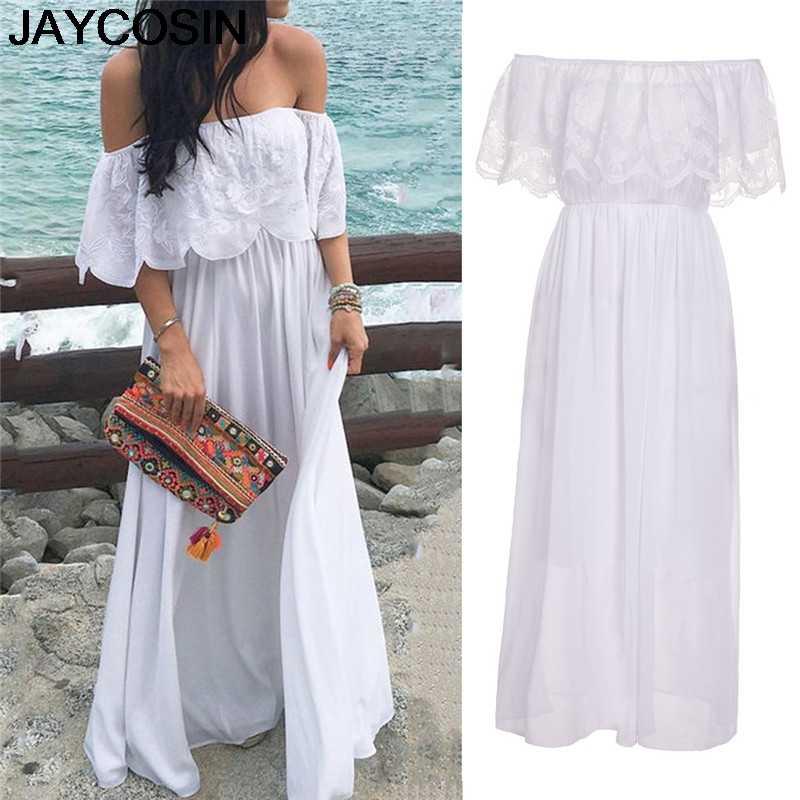 JAYCOSIN 2019 חדש קיץ נשים שמלה כבוי לכתף תחרה פרע Boho שמלת ערב המפלגה ארוך מקסי חוף שמלות Vestido je30