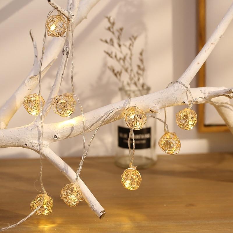Gold Diamond Ball Lantern Solar Lamp Premium Quality Waterproof 20LED Solar Powered Fairy Metal Globe String Light For Christmas