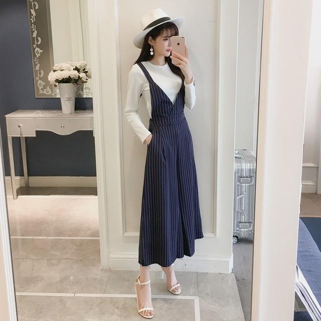 7adf57c3d0b Striped bib pants female jumpsuit 2018 spring new Korean fashion Slim thin  high waist nine points wide leg pants