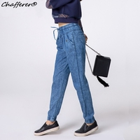 Chafferer 2017 Autumn Fashion Drawstring High Waist Jeans Woman Loose Straight Long Pants Blue Casual Tie