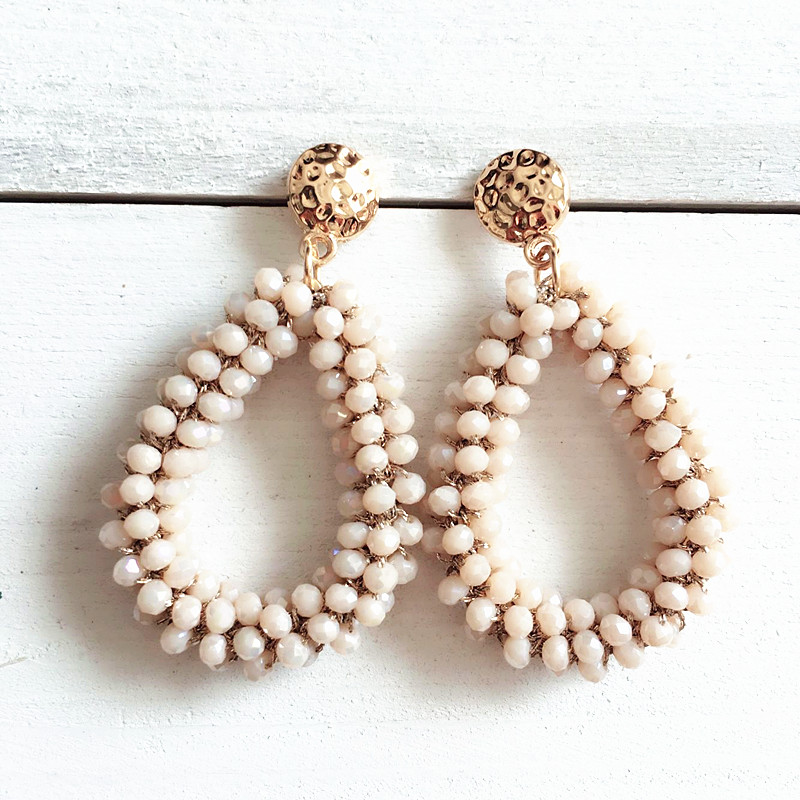 Dongmu jewellery Bohemian crystal long earrings unique natural traditional crafts woven large earrings jewelry gifts women