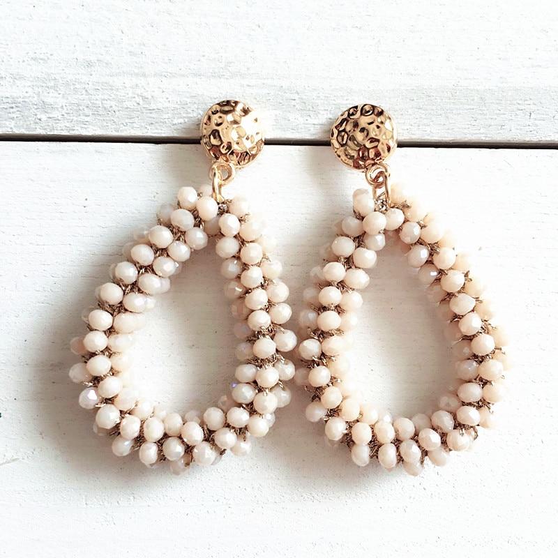 Dongmu perhiasan anting-anting kristal Bohemian panjang yang unik kraf tradisional semula jadi tenunan anting-anting besar perhiasan wanita