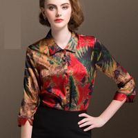 2018 летняя рубашка Женская мода Тонкий три четверти рукав печати блузки женские большие размеры элегантные шелковые blous рубашки женские