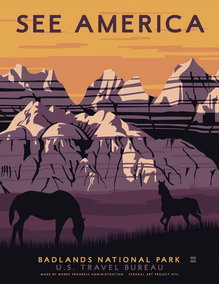 US Badlands National Park Vintage Travel Poster Classic Retro - Us national parks wall map