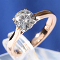 TransGems 1 ct Carat Lab Grown Moissanite Diamond Solitaire Anniversary Engagement Rings Solid Two Tone 14K Gold for Women