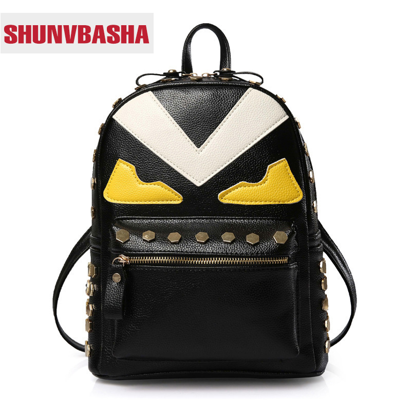 ФОТО 2017 New Brand Monster Eyes Ladies Backpack Famous Designer Shoulder Bag Fashion Schoolbag For Teenagers Institute Wind Backpack