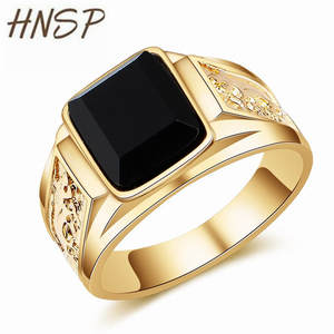 HNSP Finger-Rings Signet Crystal Dragon Black Stone Gold Vintage Big-Size Men for Male