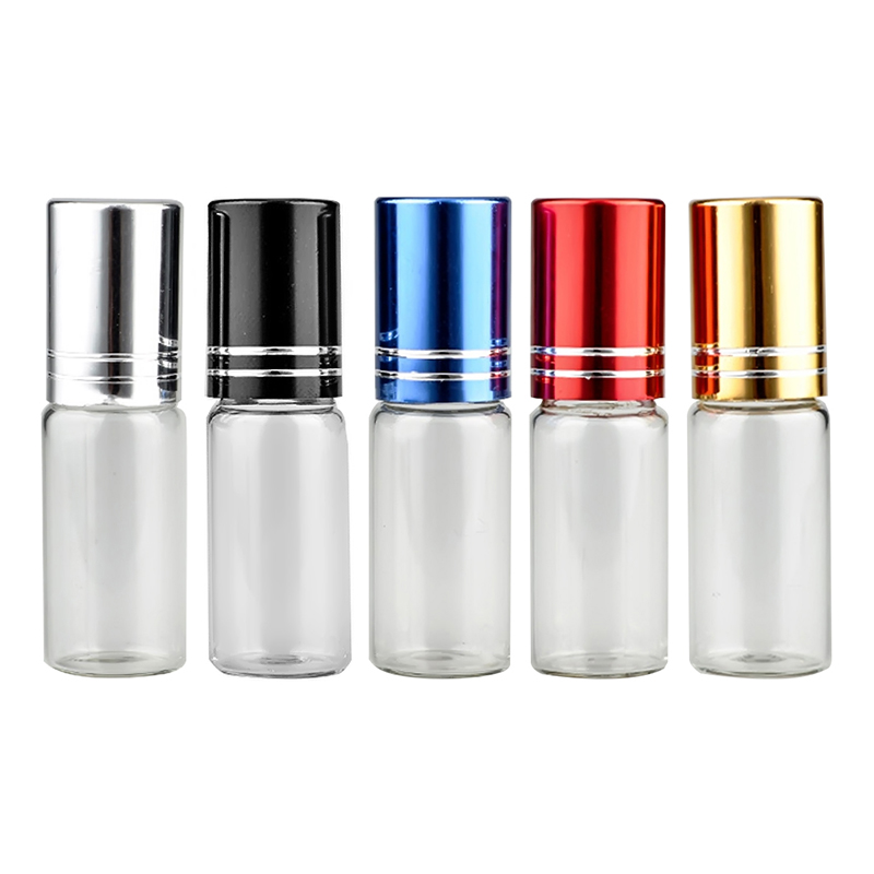 5 Colors 5ml Travel Portable Empty Refillable Transparent Glass Container Roll on Bottle For Essential Oil Perfume Fragrance mub 12ml mini cute glass portable perfume bottle with roll on