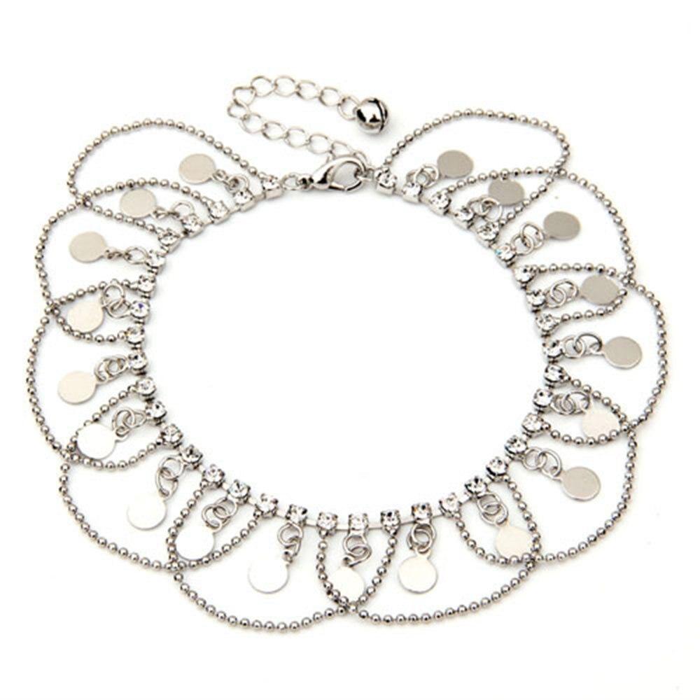 TFGS 10 x (Moeda de Cristal Oscila Encantos Cadeia Tornozeleira Ankle Bracelet