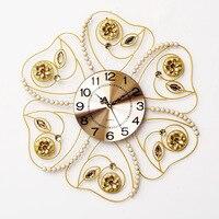 Большой железа настенные часы Современный Дизайн для Гостиная Европейский Стиль Diamond Crystal Clear металлические настенные часы большие часы дом