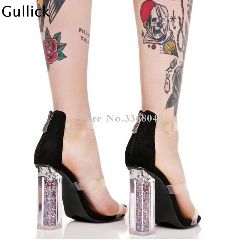 15b4204d5300 Newest PVC Patchwork Transparent Black Golden Woman Leather Sandals Glitter  High Square Heels Front Three Strappy Sandals-in High Heels from Shoes on  ...