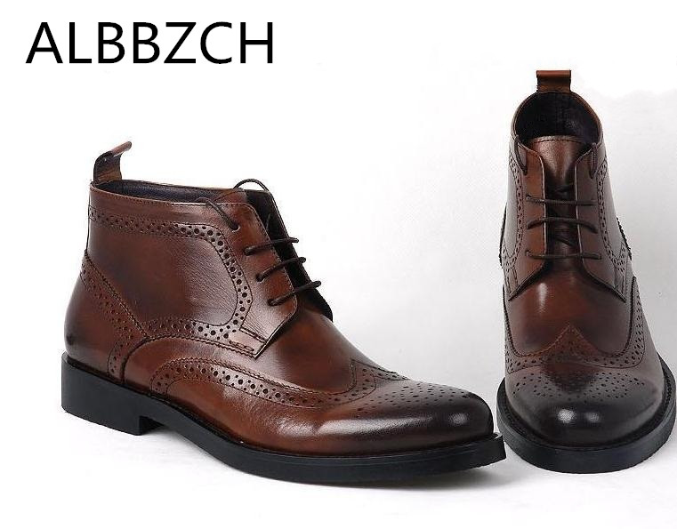 Boots High Quality Cow Leather Carving