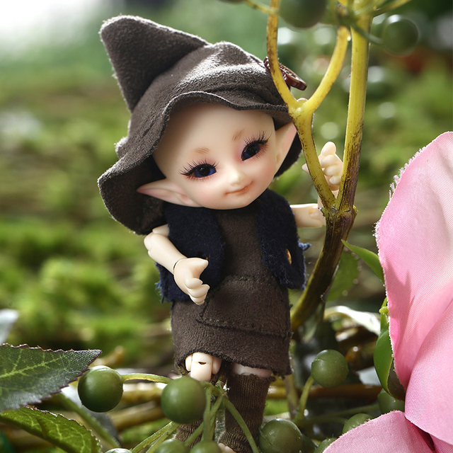 New Arrivals Realpuki Tyni Fairyland Doll BJD 1/13 Pink Smile Elves Toys Gift Spherical joint  Free Eye And Shipping