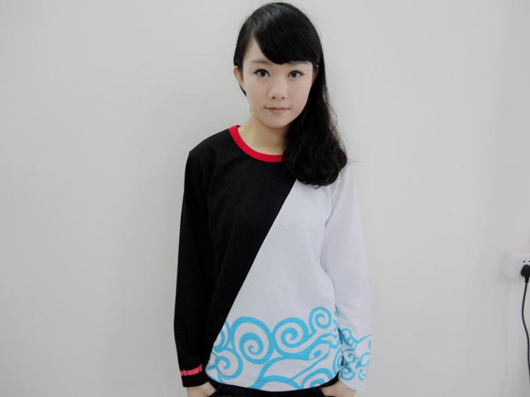 Anime GINTAMA Silver Soul  long sleeve Cosplay Costume   black and white  long sleeve Costume