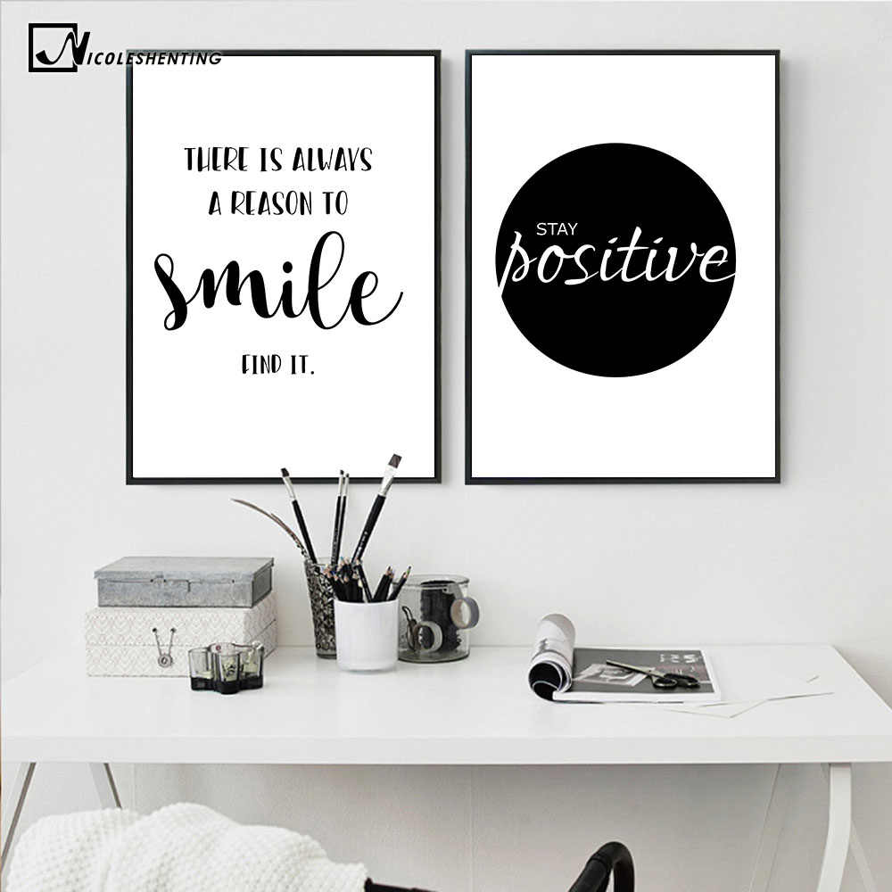 Inspirational simple quotes motivational poster prints black white wall art canvas painting education picture modern home