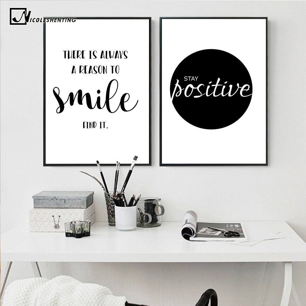 Inspirational simple quotes motivational poster prints black white wall art canvas painting education picture modern home decor