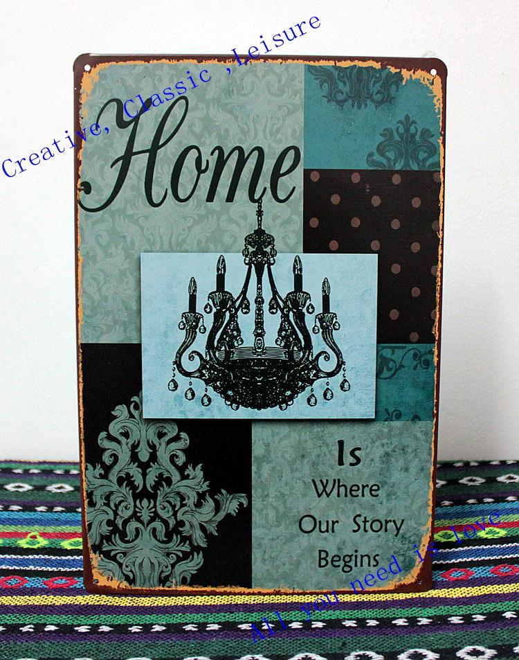 Free shipping Tin Signs - home is where our story begins - metal wall art  ,classic retro home decoration ,size 30x20cm