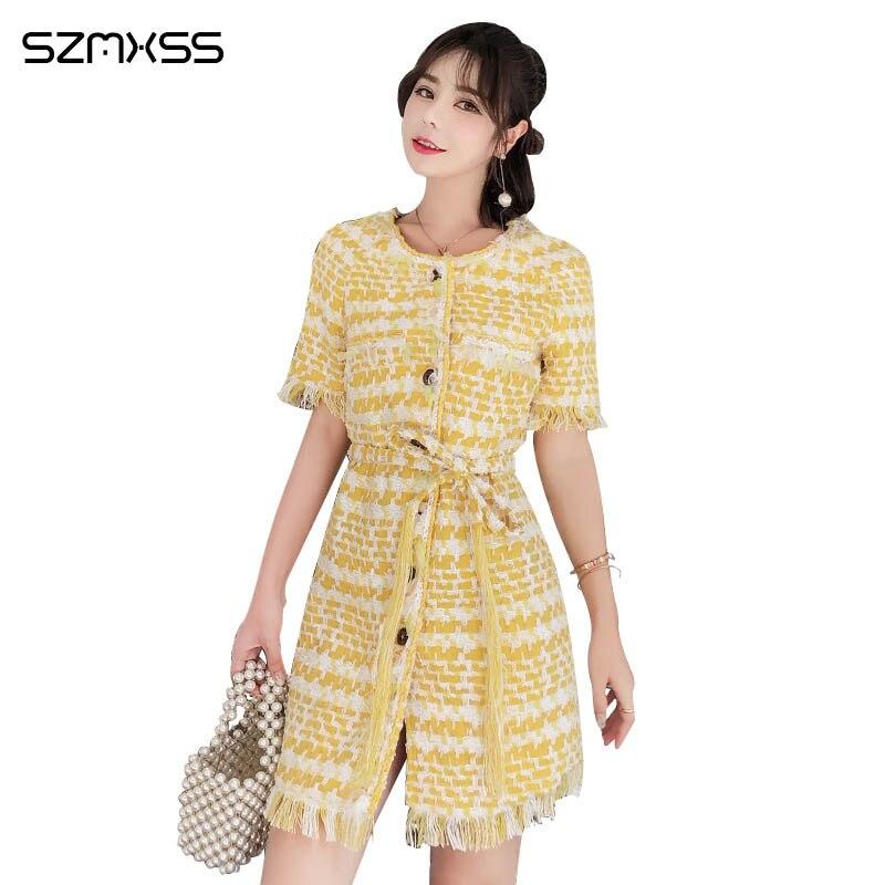 2018 ladies temperament high quality dress small fragrance wind tassel belt tweed woven round neck dress