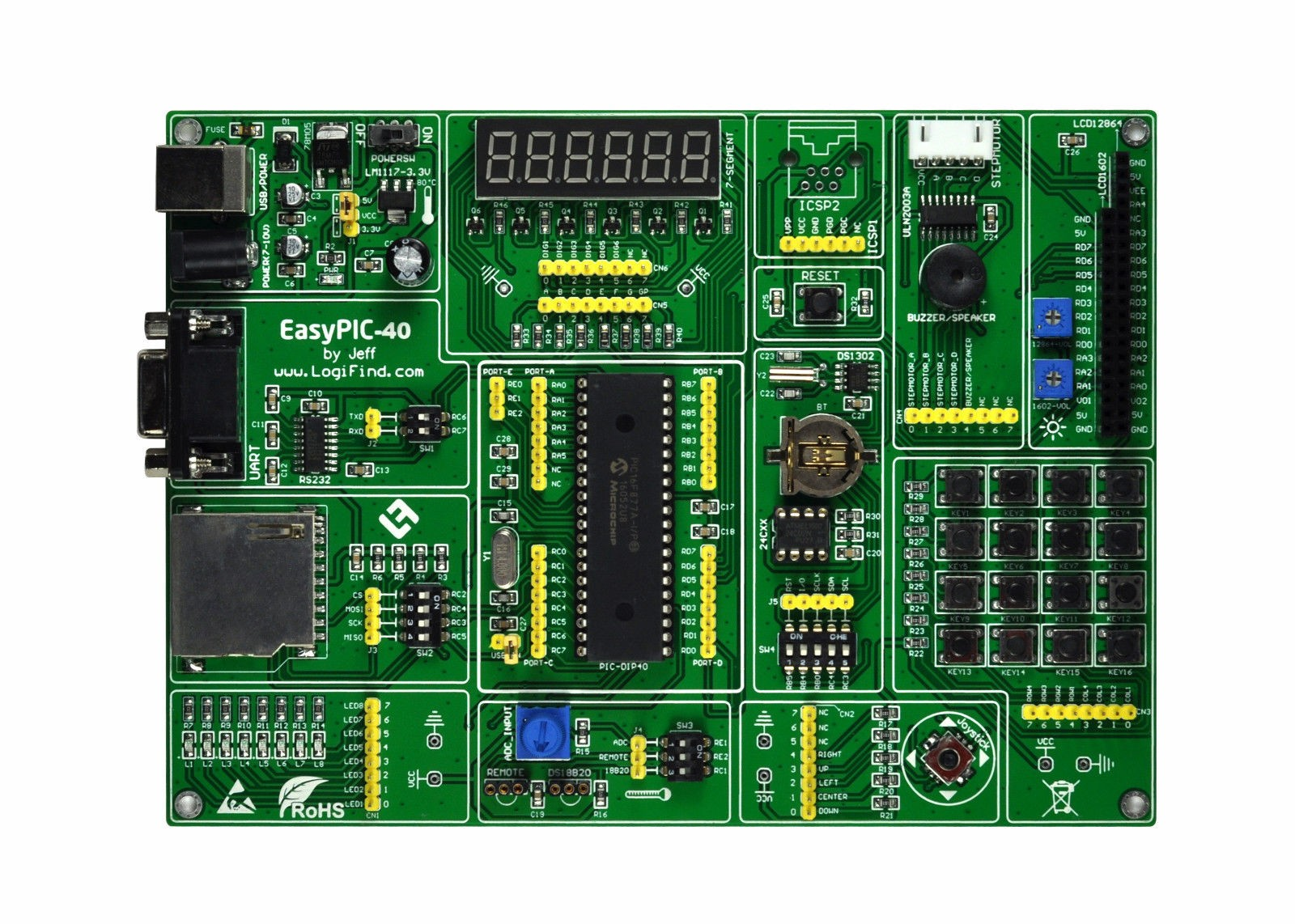PIC MCU Learning Development Board EasyPIC-40 + PIC16F877A цена