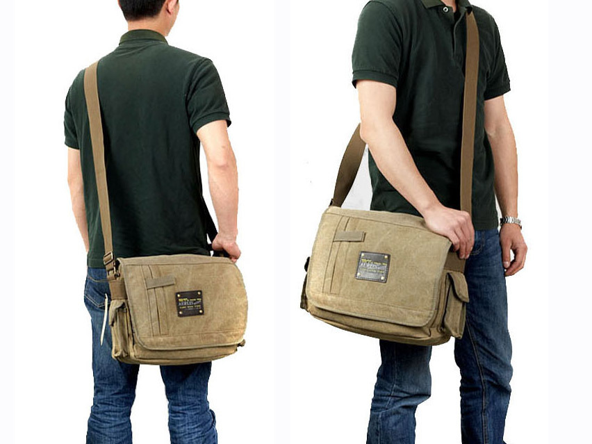 Military Messenger Bags Men s Travel Canvas Shoulder Bag Crossbody Top  handle Bags Famous Brands Designer Tote Ladies Handbag-in Crossbody Bags  from Luggage ... 0e63ef49c0559