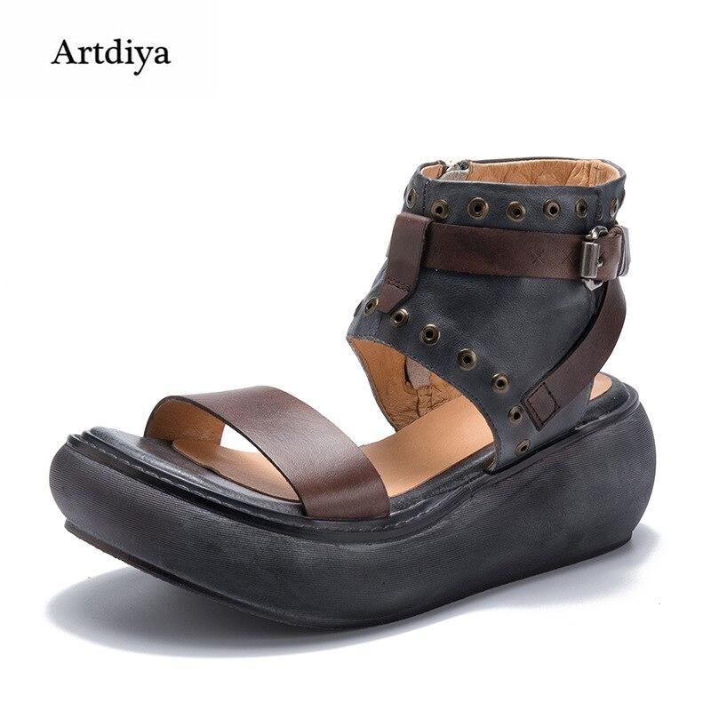 Artdiya Retro Genuine Leather Sandals Platform Fashionable Sponge Women Shoes 2018 Summer New High Heels Sandals T58516-1Artdiya Retro Genuine Leather Sandals Platform Fashionable Sponge Women Shoes 2018 Summer New High Heels Sandals T58516-1