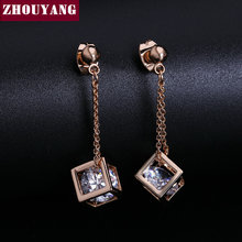 ZHOUYANG Top Quality Crystal Cube Drop Earrings Rose Gold Color Earring Jewelry  Austrian Crystal Wholesale ZYE661 ZYE652