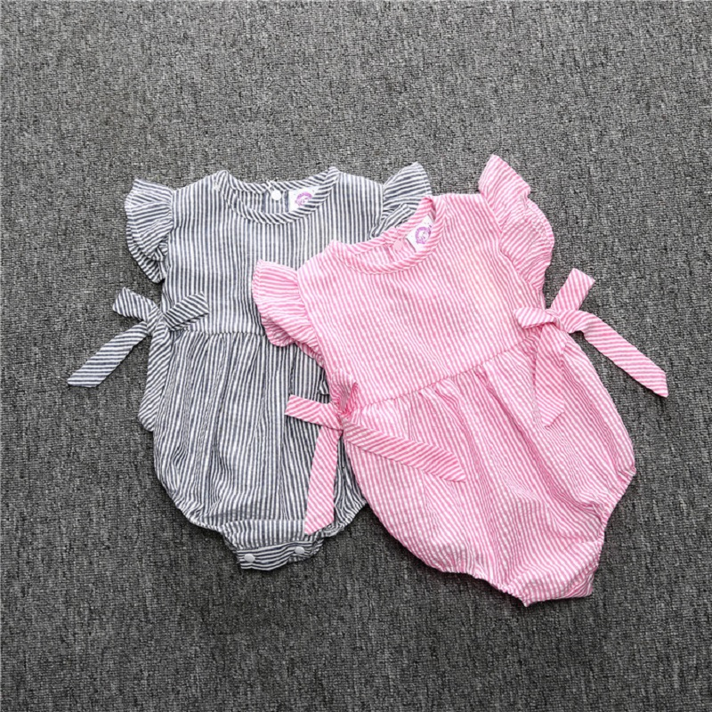 2017 new sleeveless Romper Baby Girl Summer bow pink princess Clothes Newborn Costume Infant bebe roupas cotton tutu Dress gift