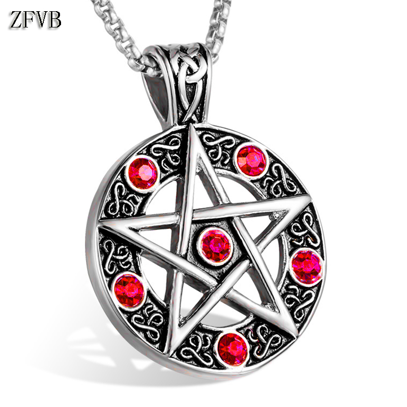 ZFVB Blue CZ zircon Pentagram Necklace Pendant for Women Mens 316L Stainless Steel Charm Crystal Pendants Necklaces Jewelry Gift graceful multilayered pentagram charm bracelet for women